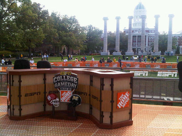 The ESPN College Gameday set on the beautiful Francis Quadrangle, in front of the historic Columns at the University of Missouri