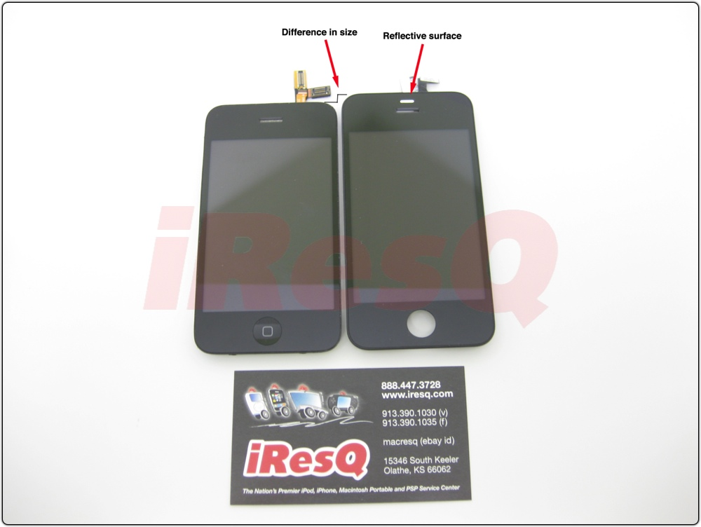 On the left, the iPhone 3GS front panel. On the right, the iPhone 4G front panel assembly. Note the difference in length and the reflective surface above the speaker, presumably for the proximity sensor.